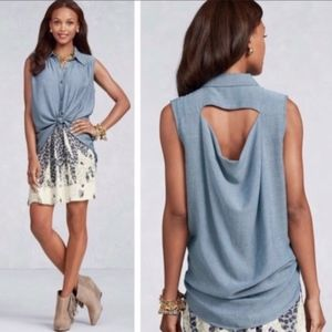 CAbi | Sleeveless Button down Open Back Chambray